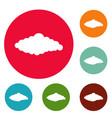 fluffy cloud icons circle set vector image vector image