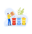 garbage separation metal plastic and paper vector image vector image