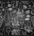 graphic wine glasses and bottles decorated with vector image