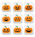 Halloween pumpkin buttons set vector image vector image