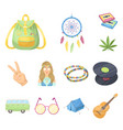 happy and attribute cartoon icons in set vector image