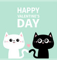 happy valentines day cute black cat kitty kitten vector image vector image