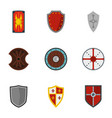 heraldic shield icons set flat style vector image vector image