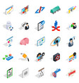 hi tech icons set isometric style vector image