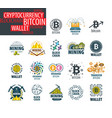 icon set for cryptography vector image vector image