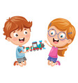 kids playing with toy vector image