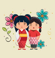 little japanese couple girls kawaii with flowers vector image vector image