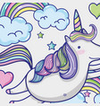 magic and fantastic unicorn cute cartoon vector image