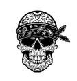 mexican sugar skull in bandana design element for vector image vector image