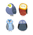 owls cartoon kid funny characters with feather vector image vector image
