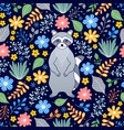pattern with raccoon and flowers vector image