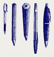 Pencil pen and fountain pen icons vector image vector image