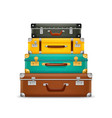 pile vintage suitcases realistic old fashioned vector image