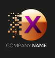 purple letter x logo symbol in golden pixel circle vector image