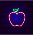 red apple neon sign vector image vector image