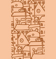 seamless doodle pattern with ocher houses for vector image vector image