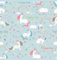 seamless pattern girl with unicorn vector image