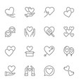 set of heart and love concept outline icons or vector image