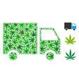 shipment van mosaic of hemp leaves vector image vector image