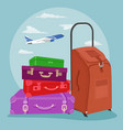 Stack of luggage with suitcase over airplane vector image