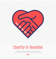 two hands in shape heart thin line icon vector image vector image