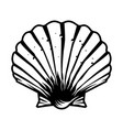 vintage monochrome scallop seashell template vector image