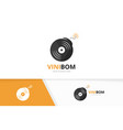 vinyl and bomb logo combination record vector image