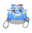waiting car police isolated with in mascot vector image