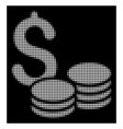 white halftone coins money icon vector image