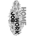 work at home job text word cloud concept vector image vector image