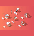 3d isometric food courts urban marketplace vector image vector image