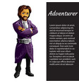 a card with a picture of adventurer isolated on vector image vector image