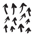 arrows icons hand drawn editable set vector image vector image