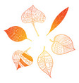 autumn leaves stylized orange leaves lying in a vector image vector image