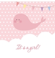 Baby girl shower card with cute whale and flags vector image