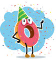 birthday party donut celebrating with confetti vector image vector image