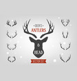 black silhouette hand drawn deer s horn antler vector image vector image