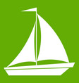 boat with sails icon green vector image vector image