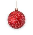 christmas ball with ball and ribbon on white vector image vector image