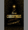 christmas tree text black background gold vector image vector image