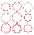decorative christmas red round frame set vector image vector image