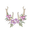 deer horns with pink flowers and berries hand vector image