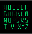 digital english alphabet green font vector image vector image