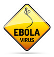 ebola virus warning sign with reflect and shadow vector image vector image