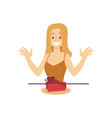 excited smiling woman is looking at piece of cake vector image
