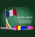 flag of france on black chalkboard background vector image
