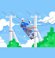 flat young man employee with power lines repair vector image