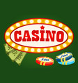 gambling game casino board money and chip vector image