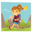 Girl Scout Girl in Hike Girl with Backpack vector image vector image