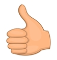 Hand showing thumbs up icon cartoon style